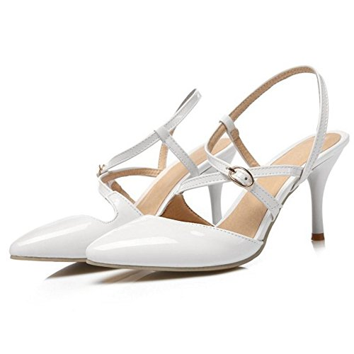 SJJH Sexy Women Sandals with Kitten Heel and Pointed Toe All Macth Women Court Shoes White 4BEcDgoTu