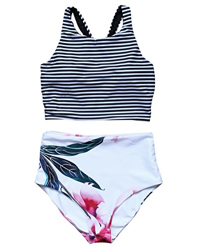 MOSHENGQI Women Vintage High Waisted Swimsuits Crop Top Beach Bathing Suits (S(US (Vintage Crop)