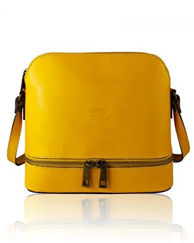 Craze London new Genuine Italian Leather, Small/Mini Cross Body Bag or Shoulder Bag, Handbag, Vera Pelle Style1 Mustard