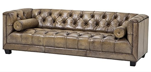 Casa-Padrino luxury genuine leather sofa leather cube Vintage Olive - 3 seater - furniture