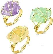 EIELO 3 Pcs Raw Healing Crystal Ring Genuine Gemstone for Women Girl Wire Wrapped Metal Meditation Healing Rin