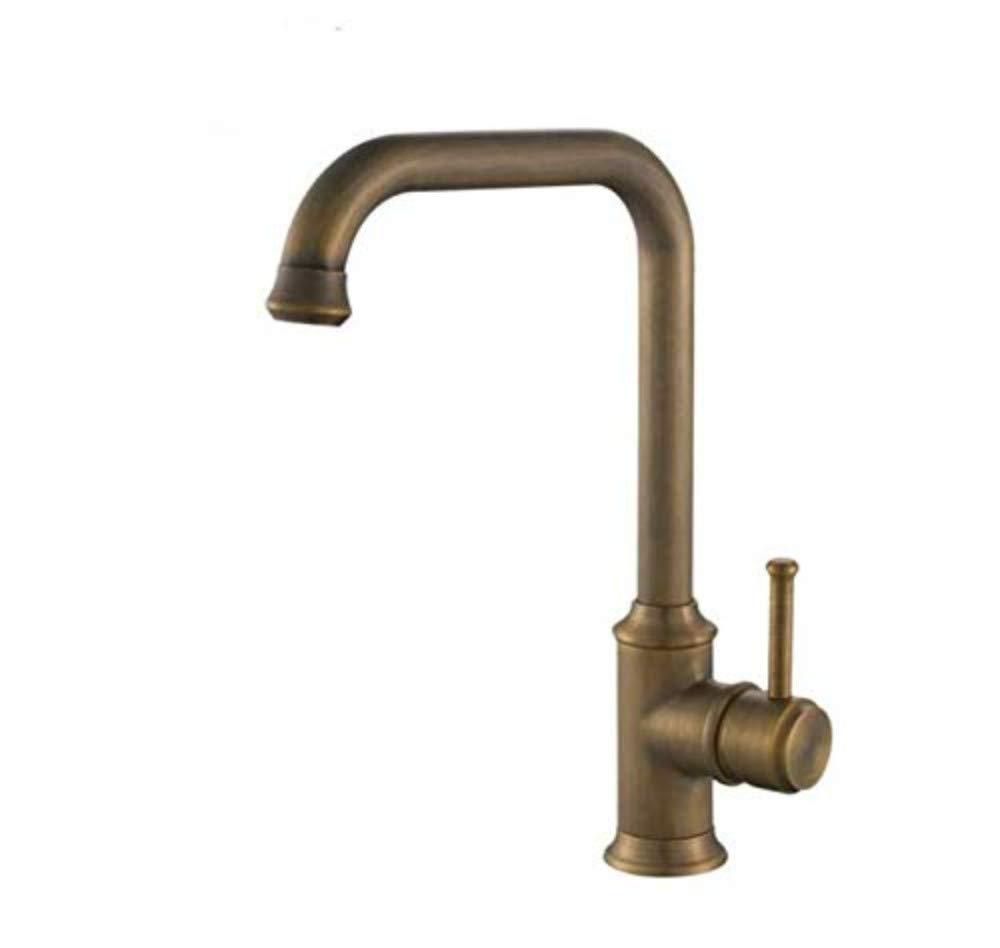 Faucetbasin Taps Swivel Spout Faucet Kitchen Sink Bathroom Antique Faucet Copper Hot and Cold Water Single Handle Single Hole Basin Faucet