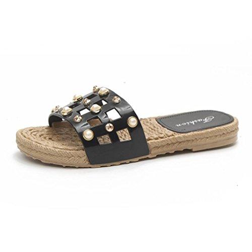 Btruely Hausschuhe Damen Sommer Strandschuhe Flip-Flops Elegante Freizeitschuhe Damen Flach Sandalen Platform Slippers Frauen Offene Sandalen Schwarz