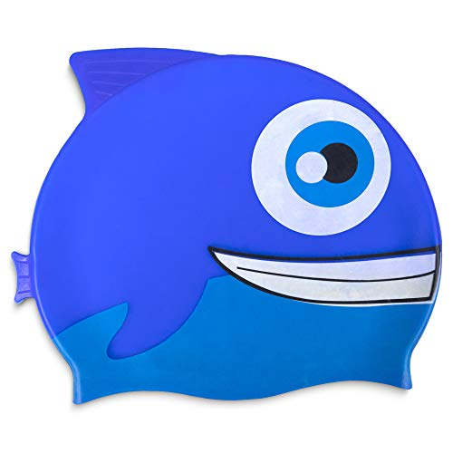 Fishy Fin Silicone Swimming and Diving Cap for Kids and Toddlers | Pool and Aquatic Sports Accessories for Boys and Girls | Cute Fish Design Recreational & Beginner Swimwear for Children (Blue) (Nemo Swim Cap)