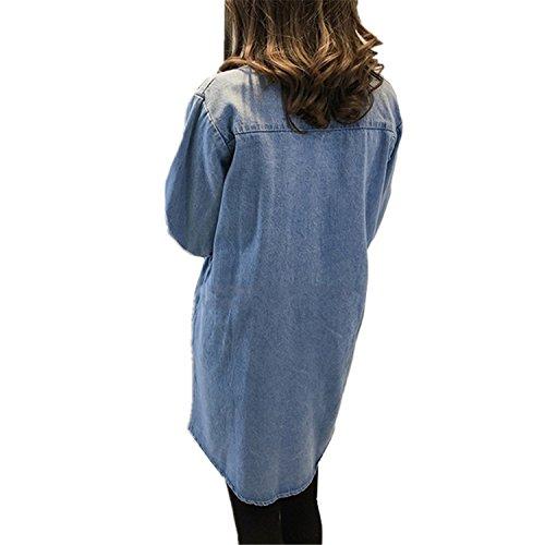 ... Plus Size Women Denim Dress Fashion Spring Autumn Vintage Long Sleeve Jean Shirt Dress Casual Loose Jean Dresses Vestido light blue5XL Fashion: Clothing