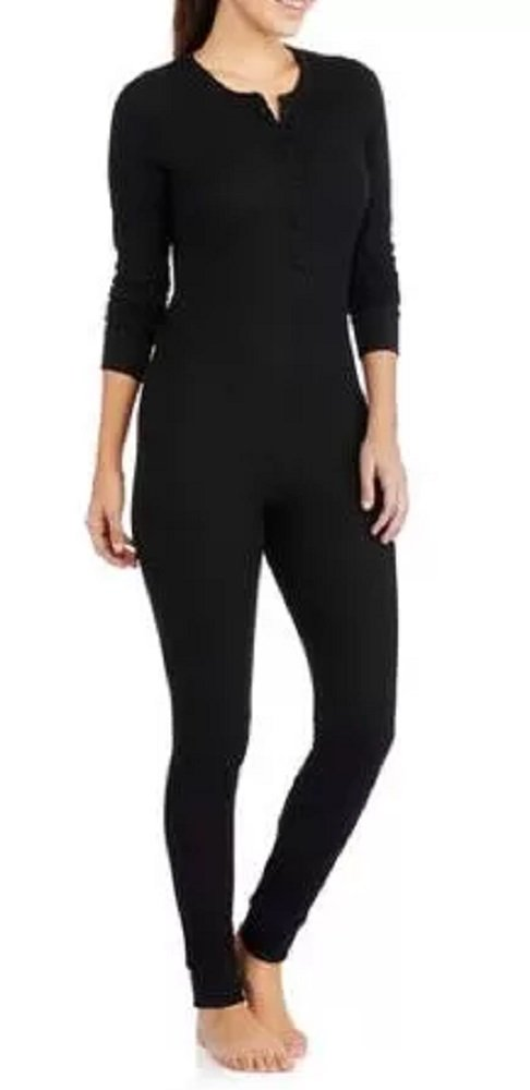 Fruit of the Loom Women's Waffle Thermal Union Suit, Black Soot, X-Large/XX-Large