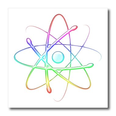 Price comparison product image 3dRose ht_41765_3 Rainbow Atom Symbol-Iron on Heat Transfer Paper for White Material, 10 by 10-Inch