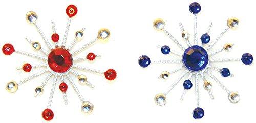 Karen Foster Design Sparkle Burst Brads Embellishments, 6 Red and ()