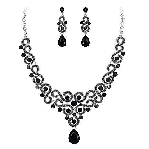 (EVER FAITH Women's Rhinestone Crystal Banquet S-Shaped Waterdrop Necklace Earrings Set Black Silver-Tone)