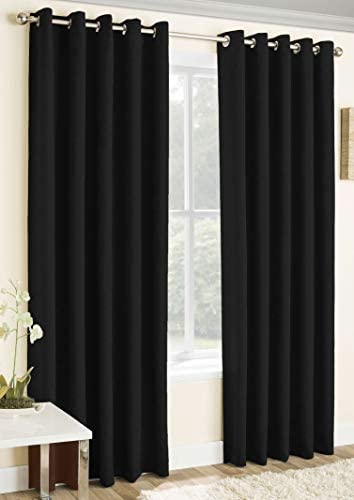 TreeWool Blackout Curtain Panels – Noise Reducing Thermal Insulated Room Darkening Grommet Window Treatment Drapes for Patio Bedroom Living Room Nursery Set of 2 Panels, 52 x 96 Inch, Black