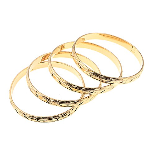 - Gold Color Copper Bangles for Women Fashion African Arabian Jewelry 4pcs Bangle Bracelet Gifts