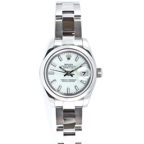 Rolex Ladys 179160 Datejust Stainless Steel Oyster Band, Smooth Bezel & White Stick Dial (Rolex Stainless Steel Band compare prices)
