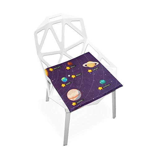 TSWEETHOME Comfort Memory Foam Square Chair Cushion Seat Cushion with Solar System All Planets Chair Pads for Floors Dining Office Chairs by TSWEETHOME