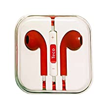 TECO Stereo Earphones with MIC & Remote for iPhone 5 / 5C / 5S / 6 / 6S Plus, iPod, iPad Mini, iPad Air 2, Mini 3 4, iPod Classic, Nano, Touch 5th 6th 7th Gen in White/Black/Pink/Red/Purple (Red)