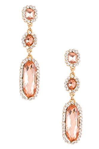 Trendy Fashion Jewelry Triple Drop Crystal Gem Dangle Earring By Fashion Destination | - Fashion Destination