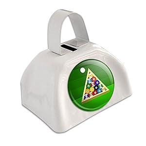 Billard Kugeln + Dreieck Billard-Tisch Weiß Cowbell Kuhglocke