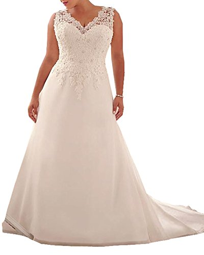 WeddingDazzle Wedding Dress Applique with Beading Long Bridal Dress for Women's