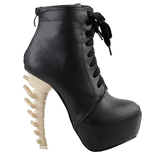 Punk Strappy Lace Up Buckle High-Top Bone Platform Ankle BootsLF80647