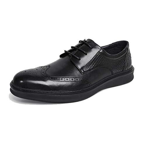 Scarpe in Pelle da Uomo Estate Brock Business Leisure Trend Lavoro Quotidiano in Stile Britannico Black