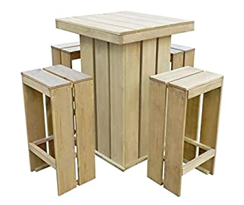 Outdoor Bar Table Garden Set Furniture 4 Seater Stools Chairs Dining