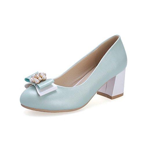 AgooLar Damen Ziehen auf Rund Zehe Mittler Absatz PU Rein Pumps Schuhe Blau