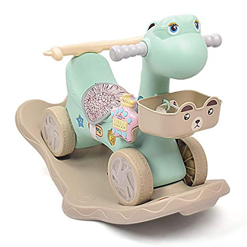 Y-Yaoyi Rocker Toy for Boy Girl,Blue Pink Ride Unicorn Rocking Horse 2 in 1 Rocker Toy with Wheels for Kid 6-36 Months,Infant Gift/Nursery/Outdoor/Indoor,Green