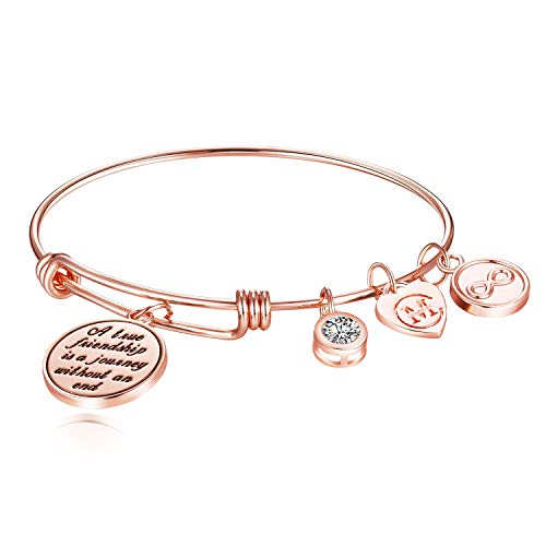 A True Friendship is a Journey Without an end Womens Charm Bangle Bracelet Jewelry -