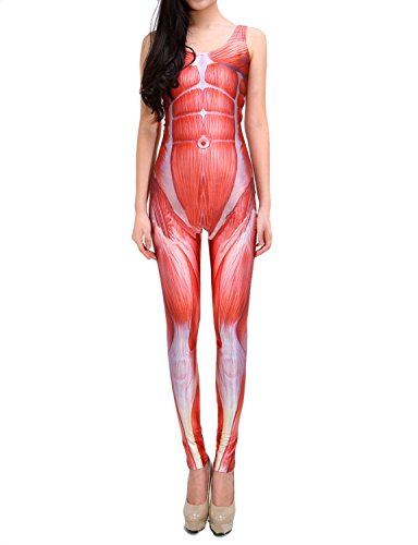 Pink Queen Women's Giant Skin Muscle Printing Jumpsuits Catsuit Bodysuit Red -
