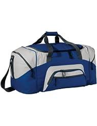 Port & Company Color Block Sport Duffel Bag, Royal/Grey, One Size