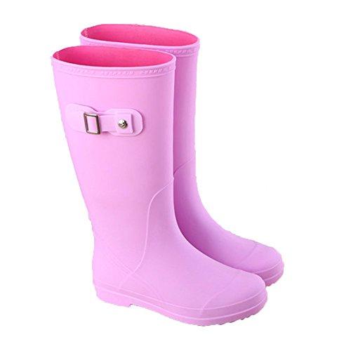 NAN Botas de lluvia Botas impermeables Botas de lluvia para mujer Botas altas para adultos Botas de lluvia antideslizantes de primavera y verano Botas de lluvia de moda ( Color : Pink , Tamaño : EU36/ Pink