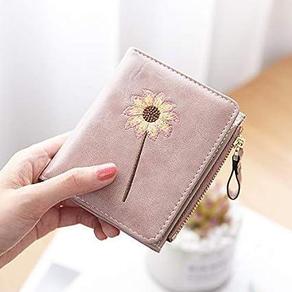 HUAIX Home Nueva versión Japonesa y Coreana de la Flor de la sección Delgada Bordada Billetera