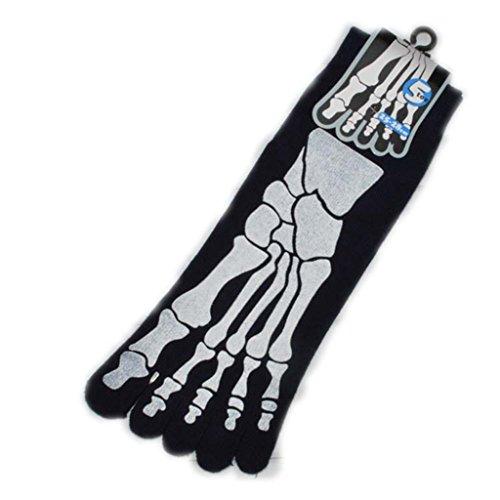 SDBING One Pairs Men's Skeleton Bone Skull Five Finger Toe Cotton Socks Black