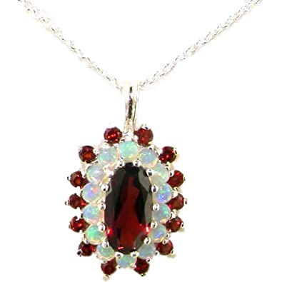 Ladies Solid 925 Sterling Silver 12x6mm Natural Garnet Opal 3 Tier Large Cluster Pendant Necklace