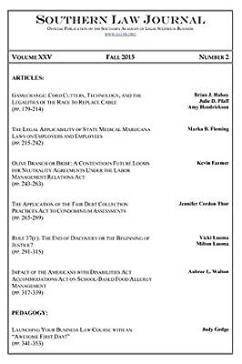 Southern Law Journal, Vol. XXV, No. 2, Fall 2015