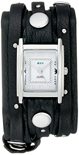 La Mer Collections Women's LMSW1000 Black Silver Stud Analog Display Quartz Black Watch