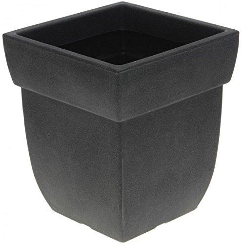 Kunststoff Blumenkübel Stein Optik anthrazit Pflanzkübel Pflanztopf Pflanzgefäß für Innen Außen, Modell / Charakter:Rund