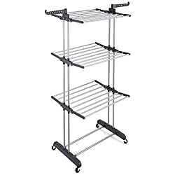 RichStar 3-Tier Clothes Drying Rack with Heavy Duty Wheels, 24 Stainless Steel Hanging Rods, Perfect for Your Laundry Room and Outdoor Laundry