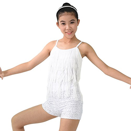 MiDee Girl's Dance Costume Outfits 2 Pieces Camisole Tassels Sequins Shorts (LC, (White Two Piece Dance Costumes)