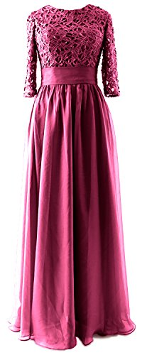 MACloth Women Half Sleeve Lace Long Mother of Bride Dress Formal Evening Gown Wine Red