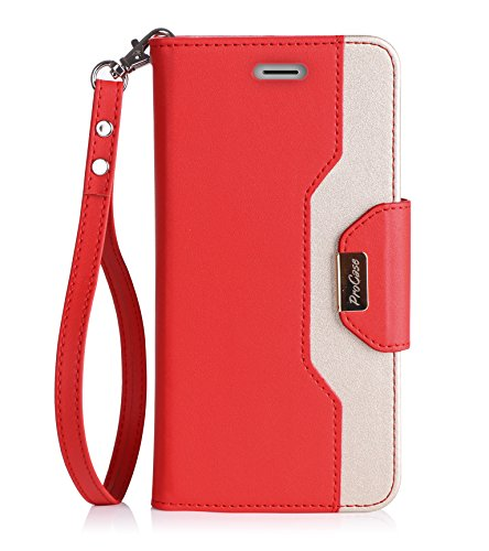 iPhone 7 / iPhone 8 Case Cover, ProCase Stylish Wallet Flip Card Case Slim Stand Cover for Apple iPhone 7 / iPhone 8, with Card Slots and Mirror -Red (Iphone Case Stylish)