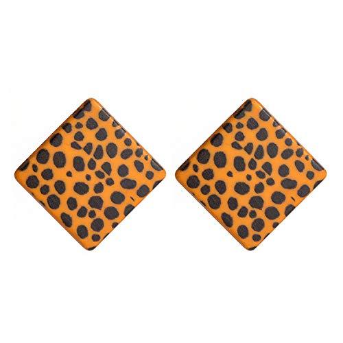 Acetate Plate Big Circular Stud Earrings for Women Jewelry Leopard Grain Earrings Yellow