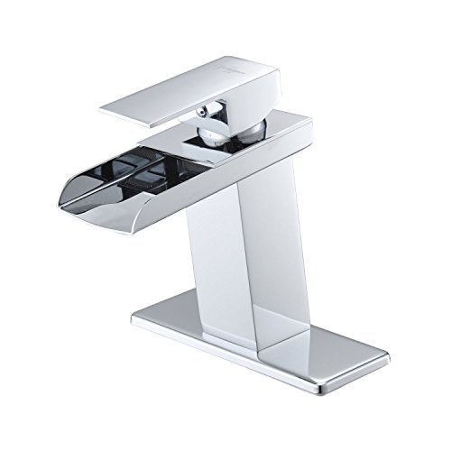 Waterfall Handle Single (BWE Chrome Waterfall Bathroom Faucet Single Handle One Hole Deck Mount Lavatory)