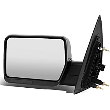 For Ford F150 Black Textured Telescoping Manual Folding Side Towing Mirror (Left/Driver)