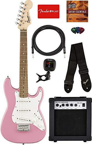 Squier by Fender Mini Strat Electric Guitar – Pink Bundle with Amplifier, Instrument Cable, Tuner, Strap, Picks, Fender Play Online Lessons, and Austin Bazaar Instructional DVD