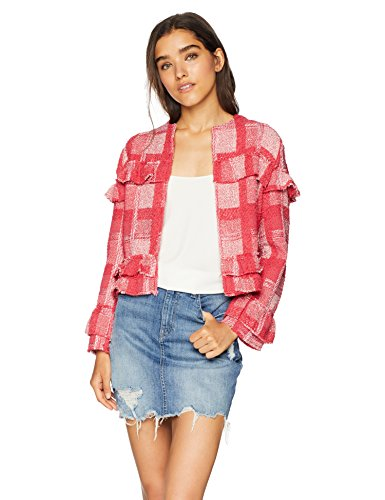 Jack by BB Dakota Junior's Sparks Fly Yarn-Dyed Plaid Blazer, Ruby, Extra - Blazer Red Ruby