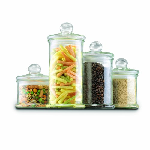 Anchor Hocking Glass Apothecary Jar Canister Set With Ball Lid, 4 Piece Set