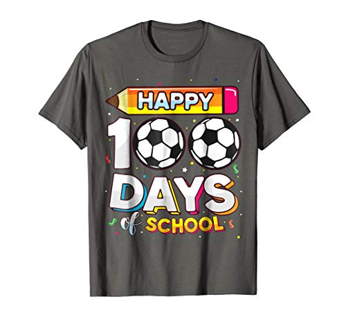 Happy 100 Days of School Soccer Football Shirt Boys Gift Tee ()