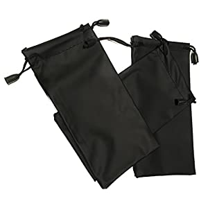 10 Eyeglass Bags - BLACK Pouch Cases for Eyewear: Glasses Sunglasses Spectacles