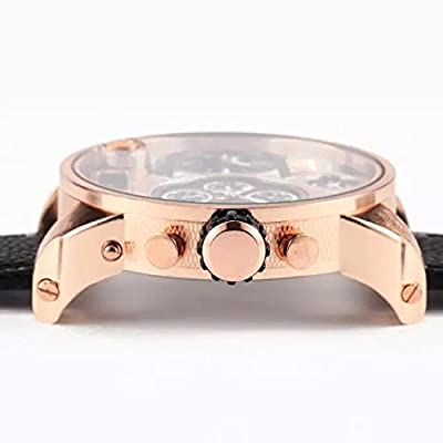 David Fashion 5.5cm Big Oulm Men Military Japan Movt Quartz Dual 3 Time Steel Leather LED Oversized Watch - Brown