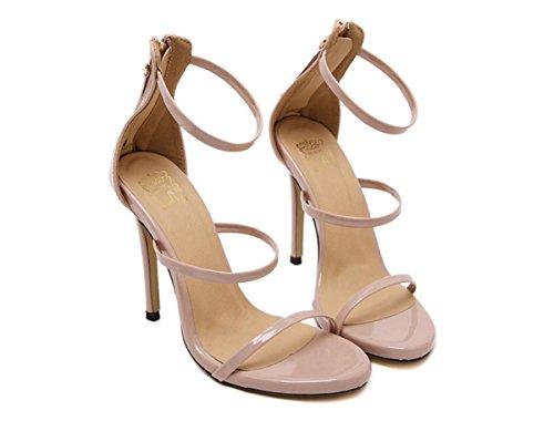Mujer Sandalias Nuevo Sexy Stilettos Señoras Delgado Alto Tacón Zapatos Mirar furtivamente Dedo del pie Negro Fiesta Noche apricot